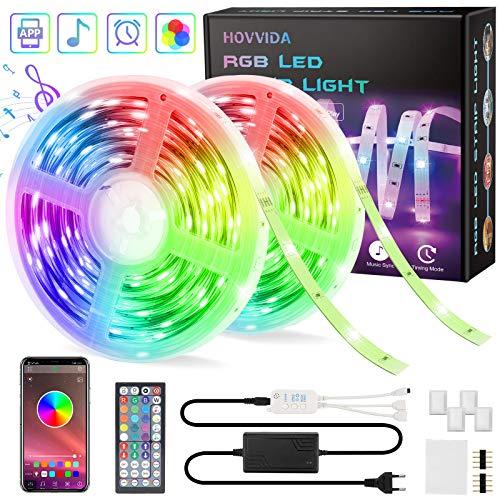 15M Striscia LED RGB 5050 Musicale, HOVVIDA Bluetooth Strisce LED 12V Musica, Controllato da APP, Telecomando IR e Controller, 16 Milioni di Colori, 20 Modalità di Stile, Modalità di Temporizzazione
