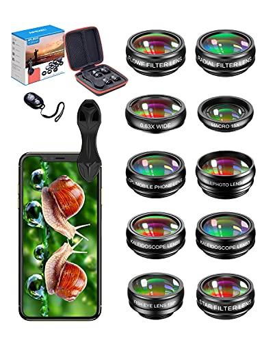 APEXEL Handy-Kamera-Objektiv-Set mit Makro-Objektiv für iPhone 12 Pro, Teleobjektiv, Weitwinkel, Fisheye, CPL, Fluss, Radial/Sternfilter/Kaleidoskop-Objektiv für Huewei P40 und die meisten Smartphones