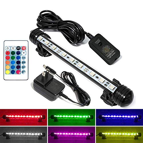 MingDak Fish Aquarium Tank Light - Aquarium Background Light,Wireless Remote Control,RGB Colored Changing, Underwater Submersible LED Light,7.5 inch 9 LEDs
