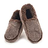 Snoozies Mens Two Tone Fleece Lined Slippers - Comfortable Slippers for Men - Brown - Large