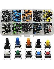 BOYUNLE 10 Valores Colorido Interruptor de Boton Momentaneo Tactil, 4-Pine Pulsador Táctil Interruptor Micro Momentáneo Tacto Surtido Kit con Caja de Plástico