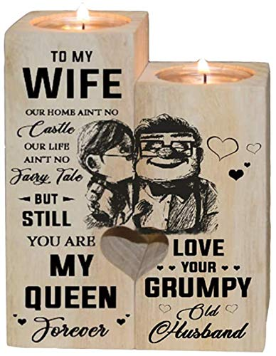Candle Holder Wife Gifts from Husband - to My Wife You are My Queen Forever - Gift for Birthday, Anniversary (A)