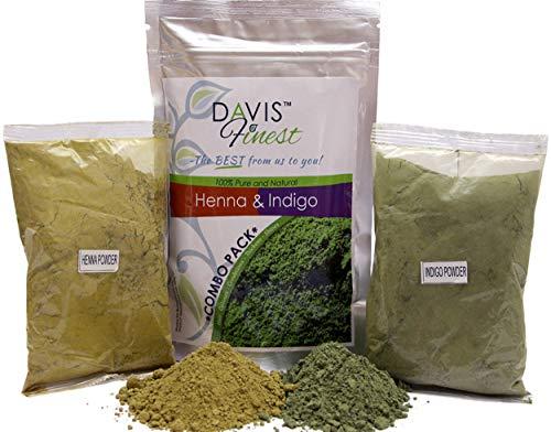 Davis Finest Henna & Indigo Haarfarbe, 100 g reines, natürliches Henna und 100 g Indigo-Pulver, Dunkelbraun, Schwarze Bartfarbe für Männer