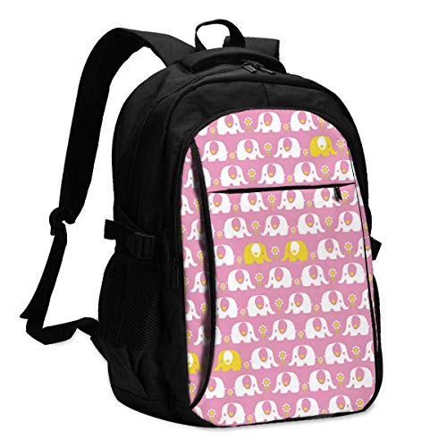 Travel Laptop Backpack, Elephant Love Couple Travel Laptop Backpack College School Bag Casual Daypack with USB Charging Port