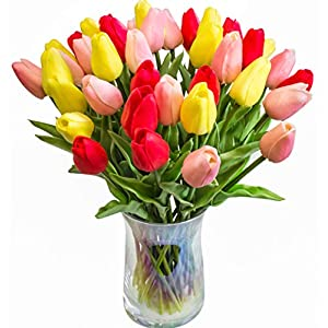 Silk Flower Arrangements JOEJISN 30pcs Artificial Tulips Flowers Real Touch Multicolored Tulips Fake Holland PU Tulip Bouquet Latex Flowers for Wedding Party Office Home Kitchen Decoration (Pink Yellow Red)