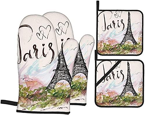 Juego de 4 manoplas y soportes para ollas de la Torre Eiffel, guantes de cocina resistentes al calor, guantes de microondas para hornear, cocinar a la parrilla, barbacoa, color negro, talla única