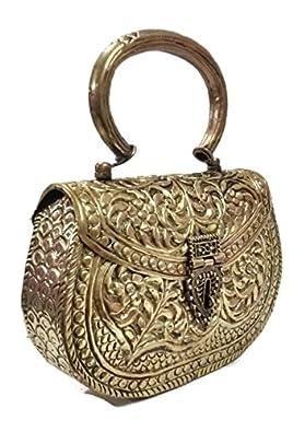 Hand Carving clutches Vintage Handmade Brass metal purse Hand clutch Handbag for women party clutch