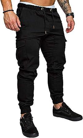 VANVENE Mens Sports Joggers Cargo Trousers - Slim Fit Outdoors Pants Drawstring Multi Pockets