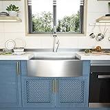 36 Farmhouse Sink - GhomeG 36 inch Kitchen Sink Stainless Steel 18 Gauge Single Bowl Apron-front Farm Kitchen Sink Basin