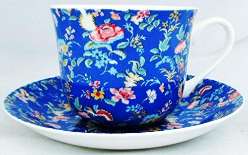 Petite tasse et soucoupe pour petit déjeuner bleu petite Bombay Bombay en porcelaine fine décorée à la main au Royaume-Uni grande tasse et soucoupe de livraison gratuite au Royaume-Uni