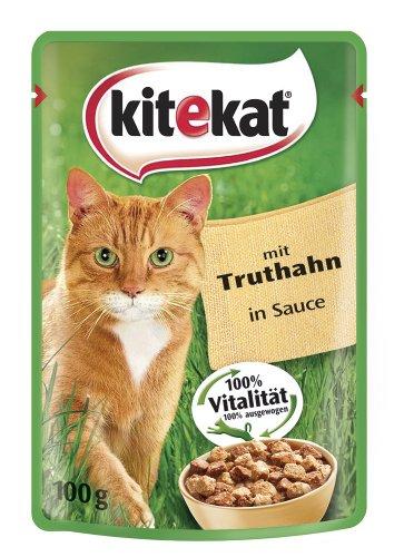 Kitekat Katzenfutter Pouch Single mit Truthahn in Soße, 24er Pack (24 x 100 g)