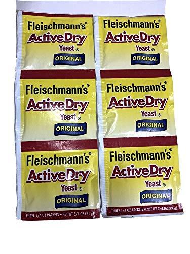 FLEISCHMANN'S ACTIVE DRY Yeast Original 2 Packs of 3 1/4 oz Packets New Selaed