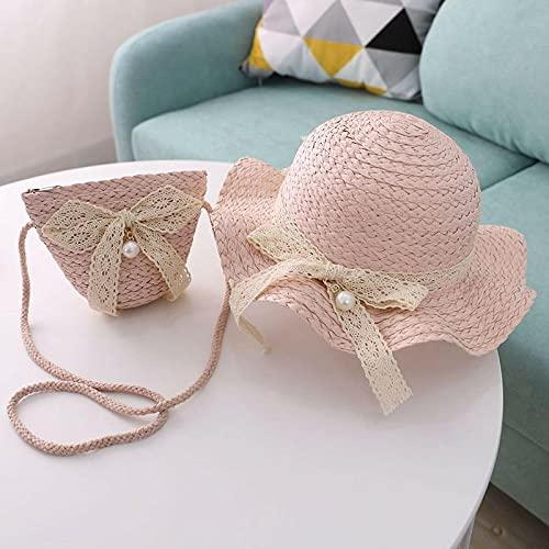 Bywenzai Sombrero para el Sol Sombreros De Paja Niñas, con Lazo De Encaje, Perlas, Verano, Sombreros para El Sol para Niños, Niños, Sombreros De Playa, Protector Solar Plegable,