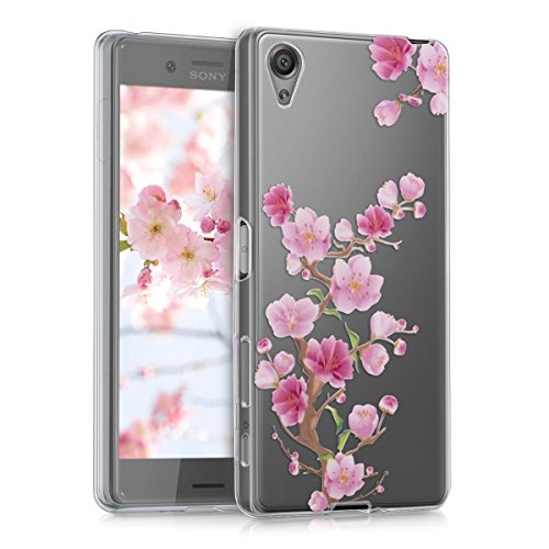 kwmobile Hülle kompatibel mit Sony Xperia X - Handyhülle - Handy Case Kirschblüte AST Pink Rosa Transparent