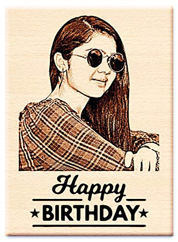 Incredible Gifts India Birthday Gift for Girls | Men | Women | Husband | Wife | Brother | Sister - Personalized Engraved Photo Frame (5 X 4 inches, Wood, Brown)