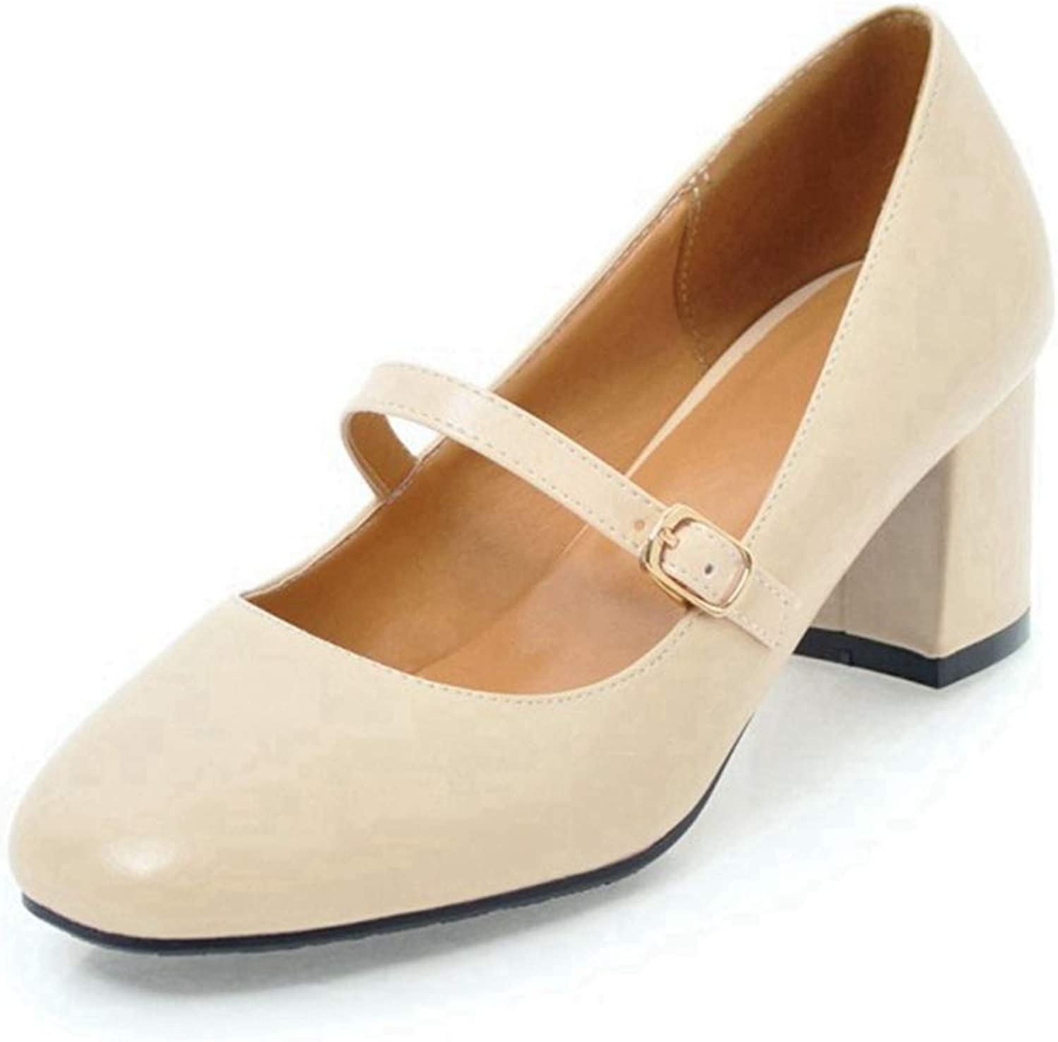 CYBLING Women's Square Toe Buckle Strap Slip On Work shoes Block Mid Heel Mary Jane Pumps