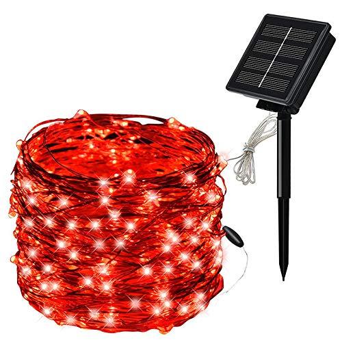 100 Lichter 200 Lichter Solar Garten Lichter, dekorative Außenbeleuchtung, Lichterketten von Sternenhimmel Terrasse Pavillon Innenhof Dekorationen-Rotes Licht 20 Meter 200 Lichter