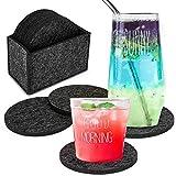 Heatigo Filzuntersetzer, 12 Stück Filz Untersetzer rund mit Box Rutschfester hitzebeständiger waschbarer Glasuntersetzer für Tassen, Tisch, Bar, Glas, Gläser