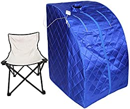 Smartmak Portable Far Infrared Sauna, EMF FIR One Person at Home Full Body SPA Tent with Heating Foot Pad and Portable Chair - Blue