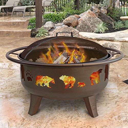 Metallic Brown Wood Burning Fire Pit by Landmann