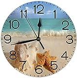 Lewiuzr Reloj de Pared Redondo Reloj de Escritorio Moderno Reloj Colgante clásico Que no Hace tictac para la Oficina de la Escuela en casa,Estrella de mar Seashell Sea Beach