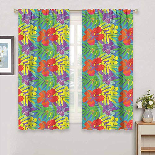 Jktown Luau Pattern Curtains Thermal Insulated Room Darkening 63x72 INCH Abstract Modern Stylized Vibrant Tropical Plants Hibiscus Artistic Essence Display Multicolor