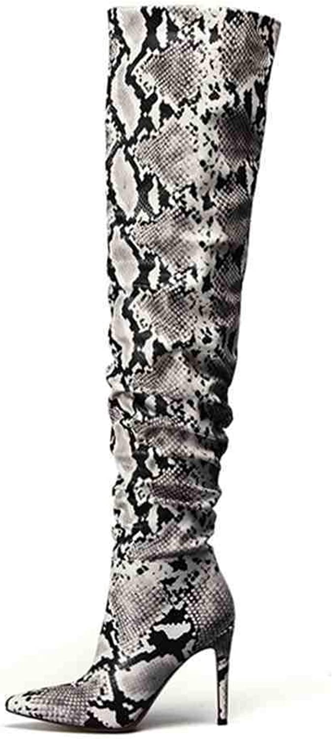 ASILETO Slouch Thigh High Boot Snake Skin Over The Knee Boots Super High Thin Heel Pleated Pointed Toe Botte Femme Talon