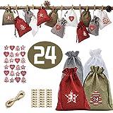 Easy-topbuy - Bolsas de calendario de adviento para Navidad, 24 días, bolsas de arpillera con cordón, adornos de Navidad con clips y cuerda de cáñamo para decoración del hogar