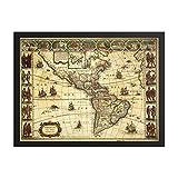 Vintage Antik 1665 Landkarte von Nord- und Südamerika,