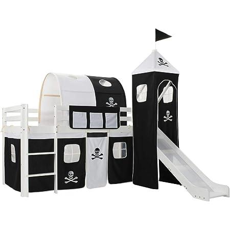 vidaXL Pin Lit Mezzanine d'enfants avec Toboggan et Echelle avec Sommier à Lattes Lit pour Tout Petits Fille Chambre à Coucher Maison Intérieur Noir et Blanc