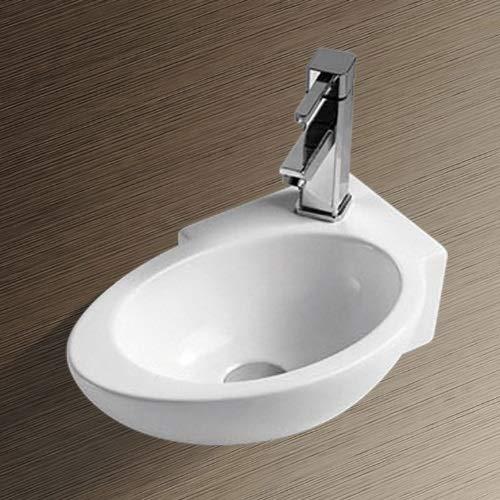 NEG Waschbecken Uno02H (klein/oval/Armatur rechts) Hänge-Waschschale (weiß) mit Nano-Beschichtung