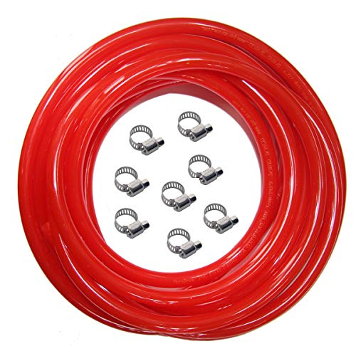 Red Gas Line Air Hose - 25ft Length CO2 Tubing Hose ID 5/16 inch OD 9/16 inch,Include 8 PCS Free Hose Clamps, Used for Draft Beer Home Brewing