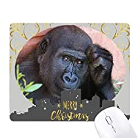 陸生生物が野生動物のチンパンジー クリスマスイブのゴムマウスパッド