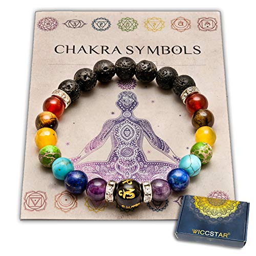 WICCSTAR Double Chakra Bracelet Crystals Jewellery with Pouch & Meaning Card