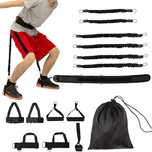 Clothink Vertical Jump Trainer Speed and Agility Training Leg Strength Resistance Bands, Fitness Workout Strength Training Set for Basketball Volleyball Football