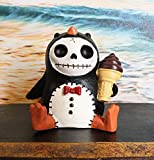 Ebros Gift 2.5' Tall Furrybones Pen The Emperor Penguin Chick with Red Bow Tie and Sugar Cone Ice Cream Collectible Figurine Skeleton Monster Penguins Hooded Costume Furry Bones Statue
