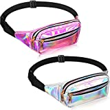 2 Pieces Fanny Pack Shiny Holographic Waist Bags Waterproof Neon Fanny Packs for Women Festival Party Travel Rave Hiking Outdoor Activities