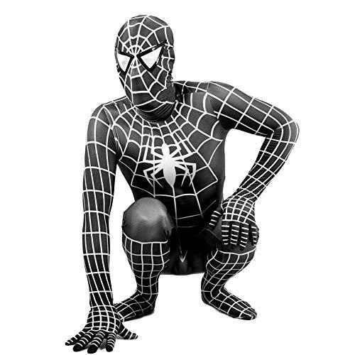 QTCWRL Cosplay Kostüm, Spider-Man Erwachsenes Kind Strumpfhosen Enganliegende Schwarzen Anzug Multifunktions (Farbe: Schwarz) (Color : Black, Size : L)
