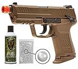 Wearable4U Elite Force H&K45CT GBB(VFC) Blowback Airsoft Pistol Green Gas BB Air Soft Gun with Elite Force Airsoft Green Gas Can Pack of 1000 6mm 0.20g BBS Bundle (FDE)