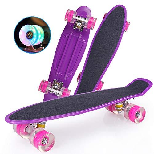 DUANYU Penny Board, 22 Zoll Pennyboard Pastel Skateboard Erwachsene Für Kinder, Tragbares Cruiser Skateboard Mit Leuchtendem Rad, Für Teenager Anfänger Mädchen Jungen (Dazzling Purple)