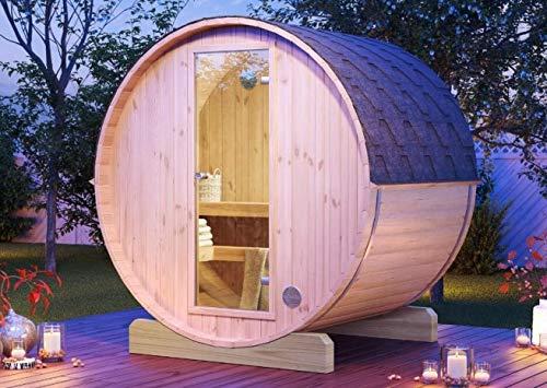 FinnTherm Fass-Sauna Mini 160 unbehandelt | Vormontiert - Gartensauna Außensauna