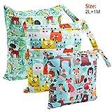 Bolsa de Pañales, BelleStyle 3 Pcs Reutilizable Wetbag, Impermeable Lavable con...