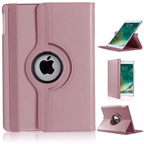 iPad 2/3/4 Case, DN-Technology 360 Rotating Leather Wallet Multi Angle Viewing Stand Slim Fit Smart Folio -2nd/3rd/4th Generation iPad Case-iPad 2/3/4 Cover (ROSE GOLD)