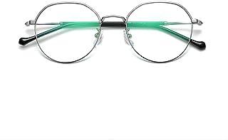 同じレトロな文学金属フラットメガネラウンドフレームメガネ車のメガネを持つ男性と女性は眼鏡の近視メガネフレームを装備することができます,Silver