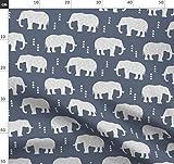 Elefant, Geometrisch, Hipster, Blau, Grau Stoffe -
