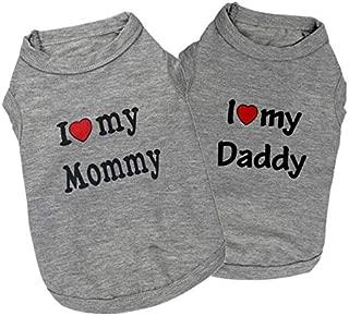 Mode-Buchstabe-Druck-T-Shirt,I Love My Daddy-Atmungsaktive Weste des Haustiers,Perfekt Zum Wandern,Joggen,Jagen Herbst//Winter-Haustier-Hundekleidung