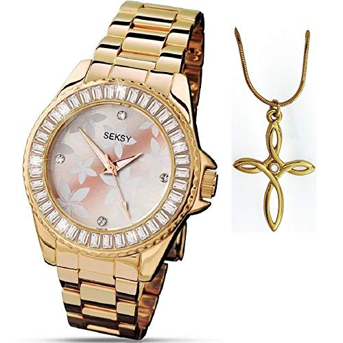 Seksy Christmas Gold Floral Dial Gold Bracelet Ladies Watch and Pendant Gift Set 4655P