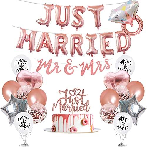 Set de decoración de boda, 40 unidades, color oro rosa, guirnaldas de globos Just Married, pancartas de MR y MRS, globos de confeti y decoración para tartas, para pedidas de boda o compromiso.