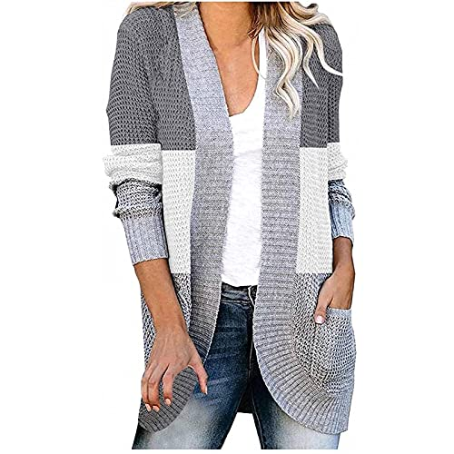 Cardigan Sweaters for Women Long Sleeve Knit Coat Casual Open Front Outerwear Color Block Fall Top with Pocket Gray