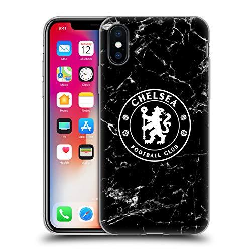 Head Case Designs Offizielle Chelsea Football Club Schwarz Marmor Wappen Soft Gel Handyhülle Hülle Huelle kompatibel mit Apple iPhone X/iPhone XS